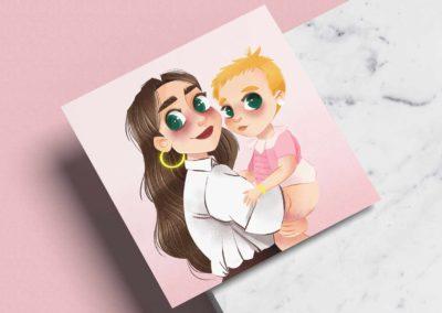 Ilustración personalizada- Tía y sobrina