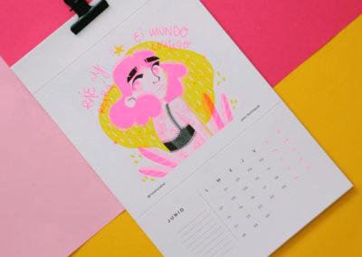 Calendario ilustrado en Risografía